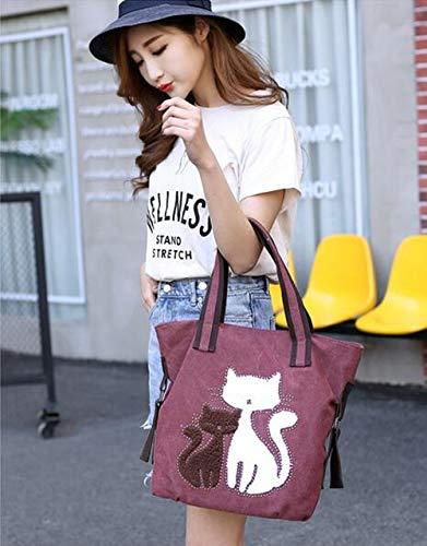 única de fu Gatito para Cheng Mujer Lona Purple Bolso coffee diseño zhang de Talla Gris Mujer niña 6tqqdzxwA