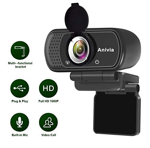 🥇 Webcam Full HD 1080p autofoco portátil webcam micrófono incorporado sonido estéreo dual flexible giratorio clip mini plug and play videollamada videoconferencias cámara de ordenador negro