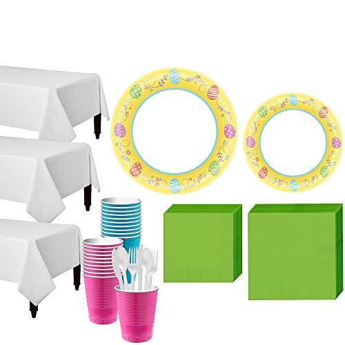 (Party City Egg-cellent Easter Tableware Party Kit for 80 Guests, 743 Pieces, Includes Plates, Napkins, and)