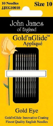 Colonial Needle Gold'n Glide Applique Hand Needles, Size 9, 10-Pack