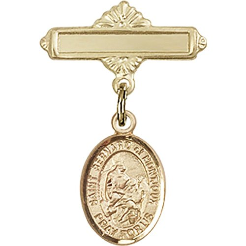 14kt Yellow Gold Baby Badge with St. Bernard of Montjoux Charm and Polished Badge Pin 1 X 5/8 inches