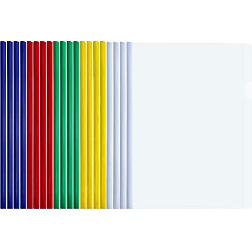 (TecUnite 20 Pieces A4 Sliding Bar Binder Transparent Report Covers Folder for Documents Classification (Multicolored Sliding Bar))