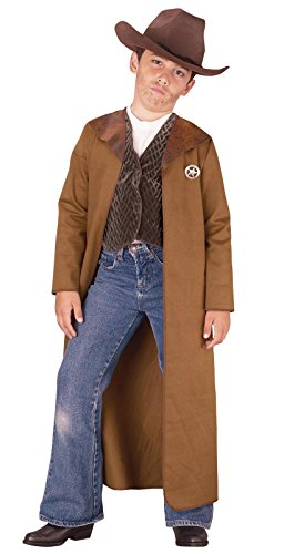 Old West Sheriff Kids Costume, L/12-14, Brown - Halloween Cowboy Costume