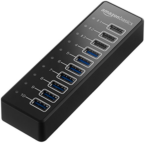 AmazonBasics USB-A 3.1 10-Port Hub with Power Adapter – 65W (20V/3.25A), Black