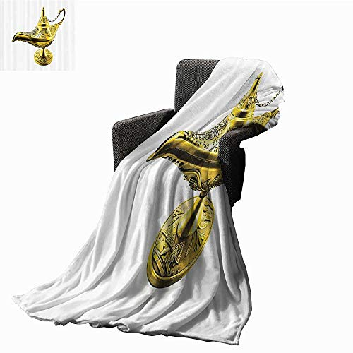 Anshesix Arabian Decor Collection Faux Fur Throw Blanket Aladdins Magic Genie Lamp Wish Mystery Magic Wonder Adventure Story Art Bedroom Warm Blanket 70