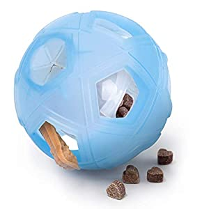 LumoLeaf Dog Treat Ball, 5″ Interactive IQ Treat Dispensing Ball Toy with Adjustable Difficulty Setting for Small to Medium Dogs and Cats