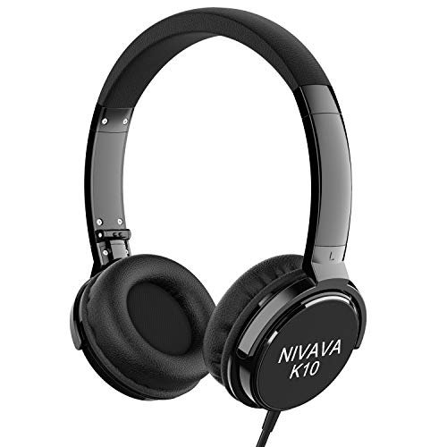 Nivava On Ear Headphones with Mic Wired Foldable Lightweight Adjustable