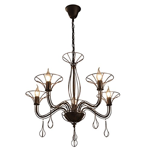 GlanzLight GL-61051,Antique Chandelier 5 Lights Black Uplight,Industrial Chandeliers Round Iron,Adjustable Pendant Light Ceiling for Living Room Warehouse