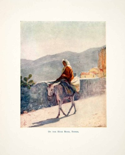 1905 Color Print On the High Road Ronda Spain Donkey Mountains Wall Woman Scene - Original Color - Women Augustine On