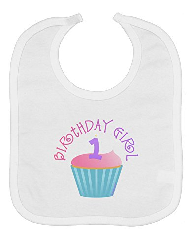 TooLoud Cute First Birthday Cupcake - Birthday Girl Baby Bib - White