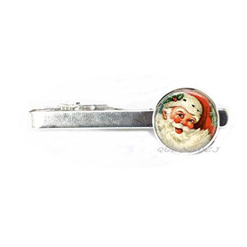 QUVLOTIAZJ Christmas Tie Clip Santa Tie Pin Wearable Art Santa Tie Clip,photo Tie Pin art Tie Pin photo jewelry art jewelry glass jewelry,ot226 (A1)