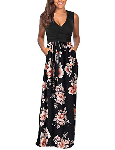 DAMISSLY Women's Floral Maxi Dresses Sleeveless V-Neck Loose Plain Casual Long Dresses with Pockets (M, - Top V-neck Ruched Jersey