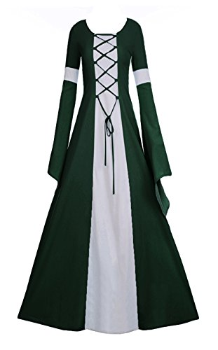 Misassy Womens Medieval Renaissance Long Costumes Dress Lace up Irish Over Cosplay Retro Gowns