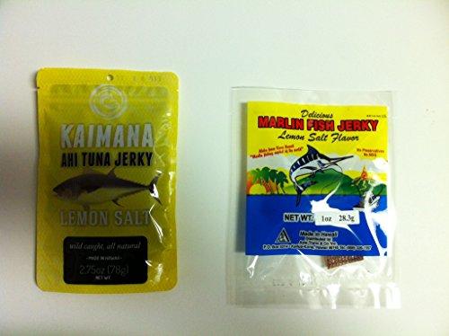 Gourmet Fish Jerky Combo Gift Pack (2pk)- Ahi Tuna Jerky Lemon Salt (2.75oz) & Hawaiin Marlin Jerky Lemon Salt (1oz)