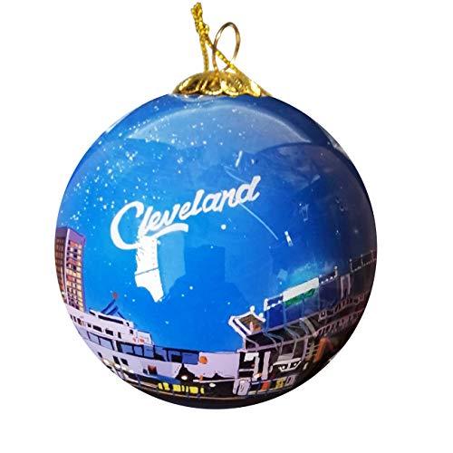 Art Studio Company Hand Painted Glass Christmas Ornament - Cleveland, Ohio Skyline Night