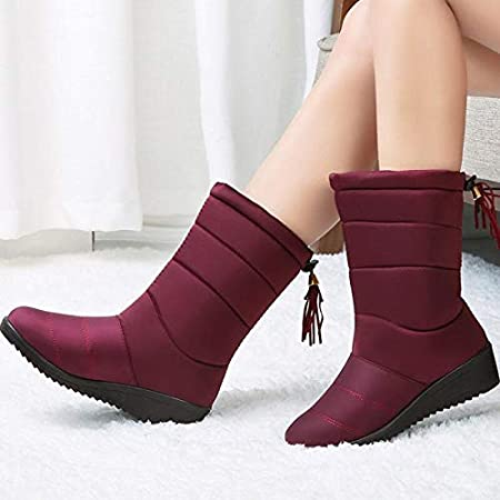 Amazon.com: Autumn Water Waterproof Winter Boots Female Shoes Mid-Calf Down Boots Women Warm Ladies Snow Bootie Wedge Rubber Plush Insole Botas Mujer: ...
