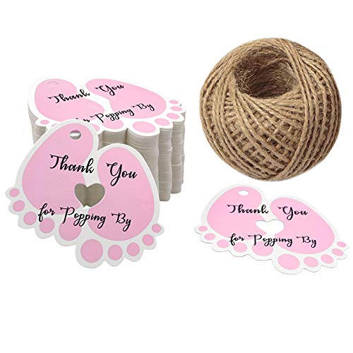 Original Design Thank You for Popping by,100 PCS Cute Baby Feet Thank You Tags with 100 Feet Natural Jute Twine Perfect for Baby Shower Favor -