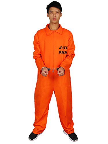 Evaliana Men Prisoner Convict Costume Halloween Fancy Dress Overalls Jumpsuit Uniform -