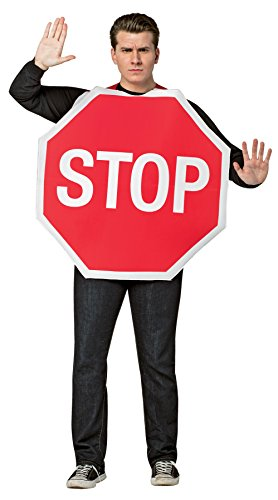 UHC Men's Comical Stop Sign Outfit Funny Theme Fancy Dress Adult Costume, (Stop Sign Costume Halloween)