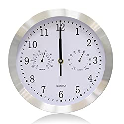 VSENCE Silent Non-ticking Quartz Wall Clock with Thermometer and Hygrometer Aluminium Indoor Decor Clock 10 Inch, Silver