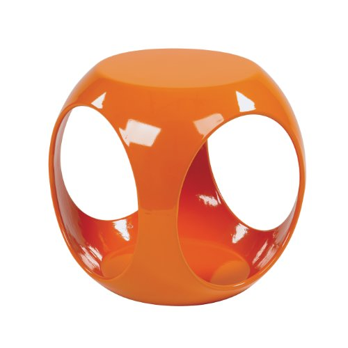 AVE SIX Slick High Gloss Finish Cube Occasional Table, Orange