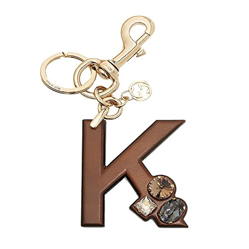 Gucci 'K' Brown Leather Key Ring Handbag Charm with Swarovski Crystals 369487