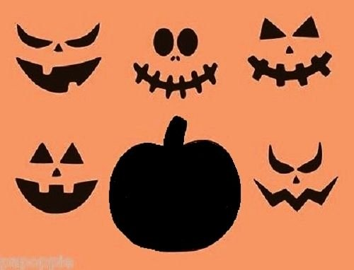 OutletBestSelling Stencil Halloween Pumpkin with 5 Faces Jack O Lantern for Pillows Signs Borders