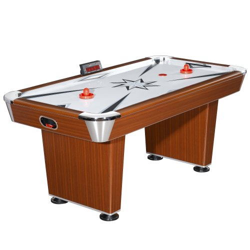 (Hathaway Midtown 6' Air Hockey Family Game Table with Electronic Scoring, High-Powered Blower, Cherry Wood-Tone, Strikers and Pucks)