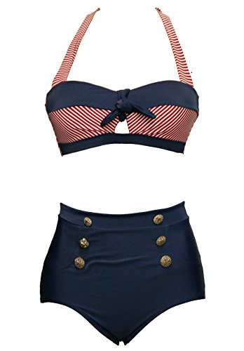 Bslingerie Ladies Retro Vintage Push Up High Waisted Bikini Swimsuit Plus Size (L, Red Striped Keyhole)