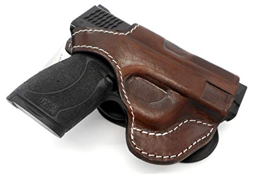 HOLSTERMART USA TAGUA Premium Deluxe Right Hand Rotating Paddle and Belt Holster with Reinforced Thumb Break in Dark Brown Leather for Smith & Wesson S&W M&P Shield 9 40 45 and 9 M2.0