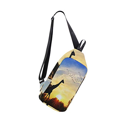 Sling Bag Giraffe In The Field At Sunset Mens Chest Shoulder Backpacks Bags Fashion Cute Womens Crossbody Rope Triangle Rucksack for Hiking or Multipurpose Unbalance ()