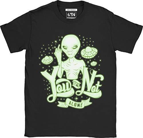 Alien Black T-shirt - 6TN Men's You are Not Alone Funny Glow in The Dark Alien T Shirt (Medium) Black