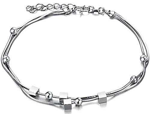 FLORAY Woman's Fashionable Charm Anklet, 18K White Gold Plated, with Beads and Cube. Length: 23+3cm