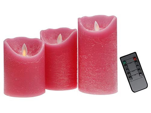 Kitch Aroma Pink Flameless Candles Battery Operated with Moving Flame Wick Flickering LED Pillar Candle for -