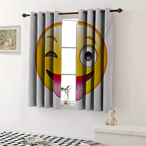 Emoji Thermal Insulating Blackout Curtain Cartoon Like Technologic Smiley Flirty Sarcastic Happy Face with Tongue Modern Print Curtains Girls Room W55 x L39 Inch Yellow]()