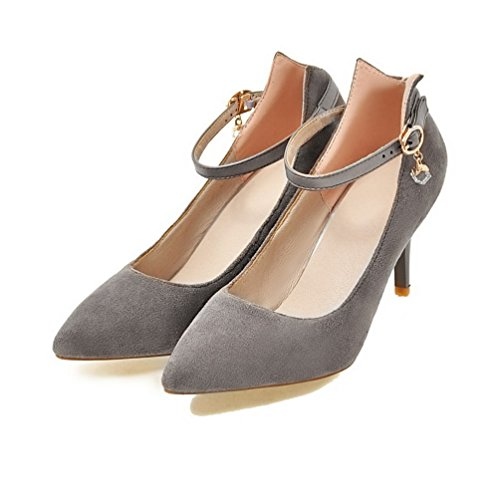 Pumps Pointed Toe High Shoes Buckle Solid Women's Gray Frosted Odomolor 37 Heels 804q4Z