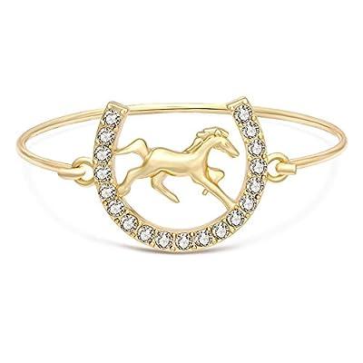 SENFAI Little Horseshoe for Horse Fans Easy Hook Clasp Bracelet Bangle Jewelry