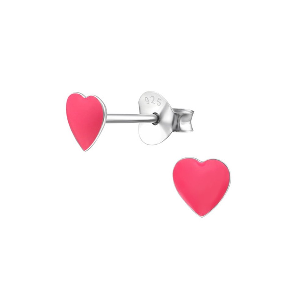 Girls Heart Colorful Ear Studs 925 Sterling Silver