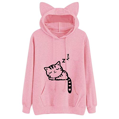 iDWZA Womens Girls Cat Casual Loose Hoodie Sweatshirt Hooded Pullover Tops Blouse(2XL,Pink) ()