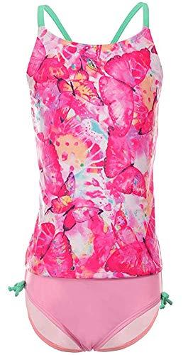 DUSISHIDAN Girls 2 Piece Swimsuits Tankini Set,Size 7-8,Rosy Butterfly Bathing -