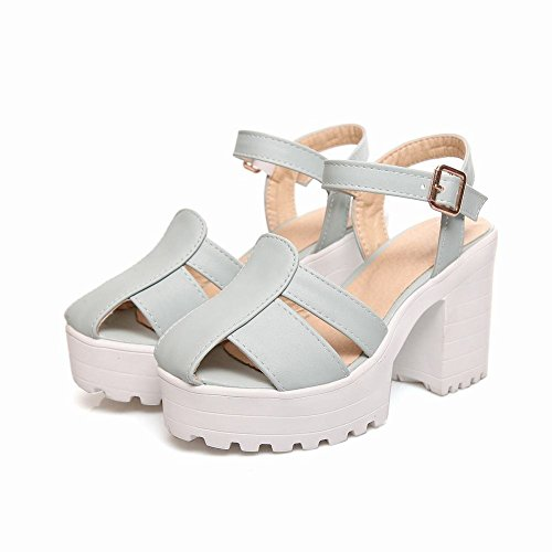 Mee Shoes Damen süß Schnalle Slingback Blockabsatz Sandalen Blau