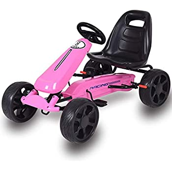 Costzon Go Kart, 4 Wheel Powered Ride On Toy, Outdoor Racer Pedal Car with Clutch, Brake, EVA Rubber Tires, Adjustable Seat (Pink Go Kart)
