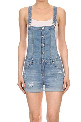 Vialumi Womens Distressed Button Up EnJean Short Overalls