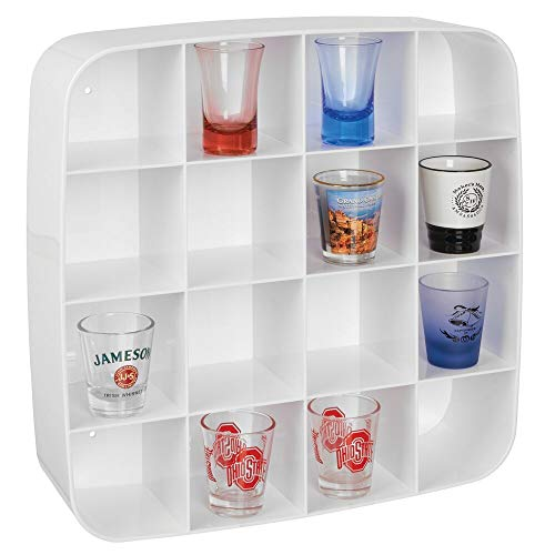 mDesign Plastic Wall Mount Display Organizer Holder - 16 Compartments - Protect, Store and Show Off Small Collectibles, Figurines, Shot Glasses, Nail Polish Colors, Spices - White