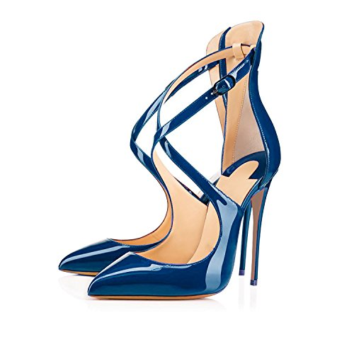 Buckle Ankle Pointed Strap Toe blue Dark Pumps Stiletto Ladies High Heels Crisscross Shoes Strappy Women's Sammitop PFnxqH5