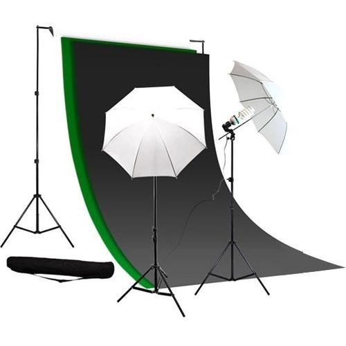 (Caltar Photography Photo Video Continuous Lighting Kit, 10ft Background Support, with Green Chromakey - Black and White 10 X 10 Muslin Backdrops, with Free Carry Case)