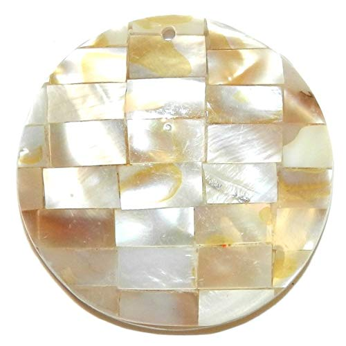 Bead Jewelry Making Golden & Black Lip Shell 35mm Mother of Pearl Round Mosaic Tile Pendant