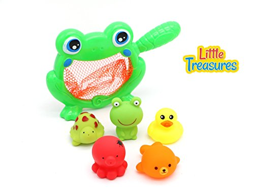 Little Treasures Bathtub Playtime Fishing Net Toy - Ocean Life Bath Toys for Babies of Age 18+ Months Toddlers