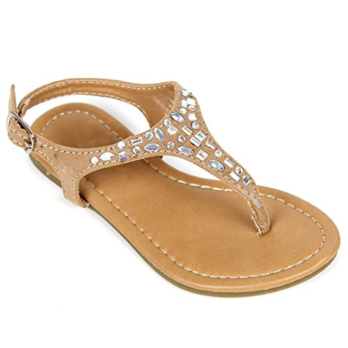 Jeweled Girls Sandals - Girls Kids T Strap Gladiator Strappy Rhinestone Glitter Flip Flops Sandals (11, Tan)