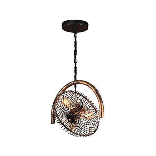 XUMINGDD Industrial Fan Ceiling Light Bird Cage Hanging Lamp Country Antique Copper Fan Wrought Iron Lighting Fixture E27 Restaurant Hotel Club Decoration lamp (Color : Bronze)